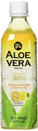 ALLGROO Aloe Vera Drink (vegan, glutenfrei, Einwegpfand) Yuzu und Zitrone, 12er Pack (12 x 500 ml)