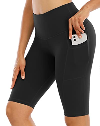 CHRLEISURE High Waisted Yoga Biker Shorts for Women with Pockets, Tummy Control Workout Spandex Shorts 5F Black M