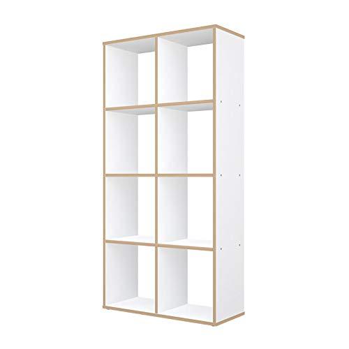 Polini Home Raumteiler Regal weiß mit Holzoptik 8 Fächer