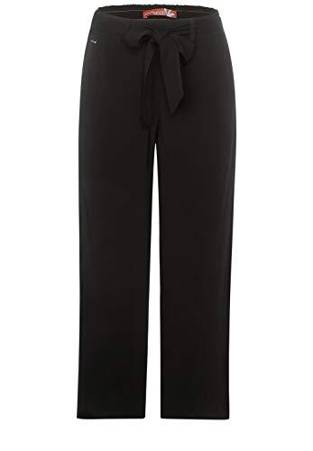 Street One Damen Wide Leg Hose mit Gürtel Black 40 Lässiger Fit, weites Bein, mittlere Leibhöhe, Seitliche Eingriffstaschen, Softes Material, Damenjeans