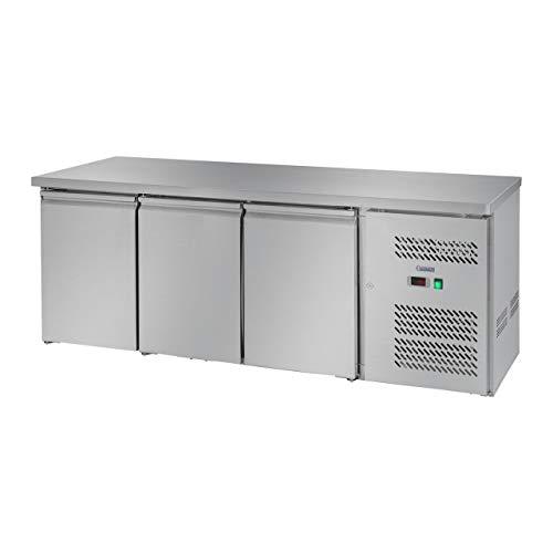 Royal Catering Kühltisch Arbeitstisch mit Kühlung RCLK-S339 (339 Liter, Edelstahl Arbeitsplatte, 258 W Zanussi Kompressor, 3 Kühlfächer, Kältemittel R600a)