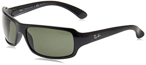 Ray-Ban RB4075 Rectangular Sunglasses, Black/Polarized Green, 61 mm