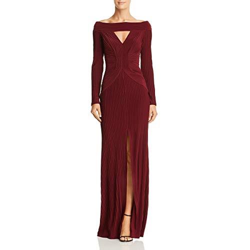 Tadashi Shoji Women's l/s Pintuck Gown, Wine, S