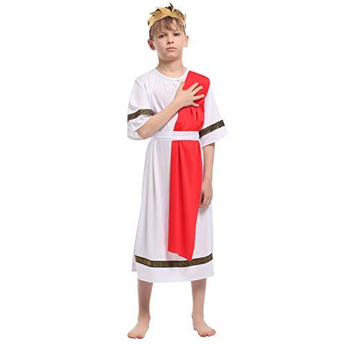 LOLANTA Disfraz de Toga Griega para niños Disfraz de túnica del Príncipe Romano Disfraz de Cosplay César de Halloween (6-7 años)