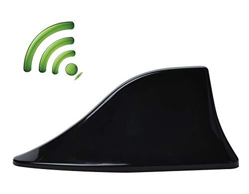 Antena de Coche Universal de Aleta de Tiburón, Antena de Radio con Amplificador Señal de Radio FM con Base para Coche Camioneta SUV Poweka