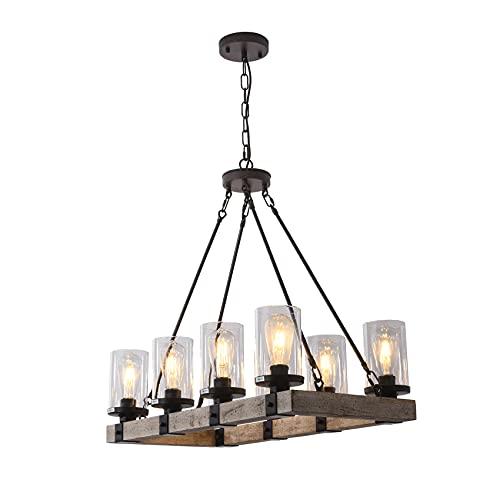 LIANSHUN 8-Lights Farmhouse Island Light for Kitchen, Vintage Wood Chandelier for Dining Room,...