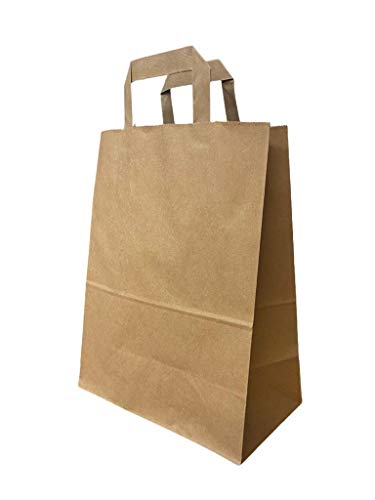 ZERAY 50 Stk Papiertragetaschen 22+10x28 cm.papiertüten braun.braune papiertüten.papiertüten mit henkel. üten Papier.papiertragetaschen.papiertaschen (50 Stück)
