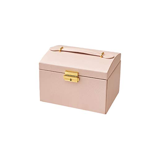 Kraeoke - Joyero de 3 niveles, con asas, cajón, para pendientes, collares, anillos, pulseras (rosa)