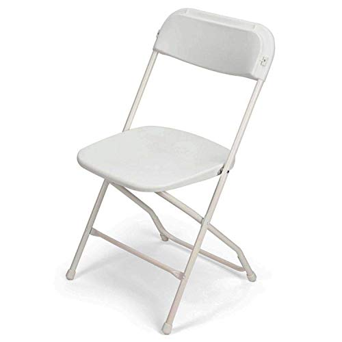 EventStable TitanPRO White Plastic Folding Chair - Lightweight Foldable Outdoor Chair - Durable Patio Chairs - Chair Set for Parties Banquet - 10 Pack