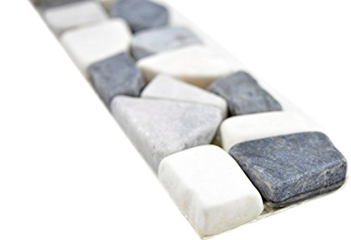 Marmor Naturstein grau weiß schwarz Borde Bordüre Ciot grau weiß schwarz Wand
