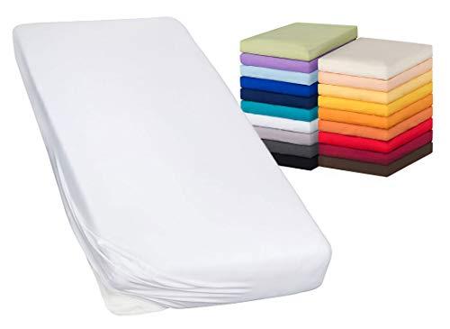 Moon-Luxury Spannbettlaken Spannbetttuch Jersey Stretch 230g/m² für Wasserbetten, Boxspringbetten und herkömmliche Matratzen (weiß, 90x200-100x220)