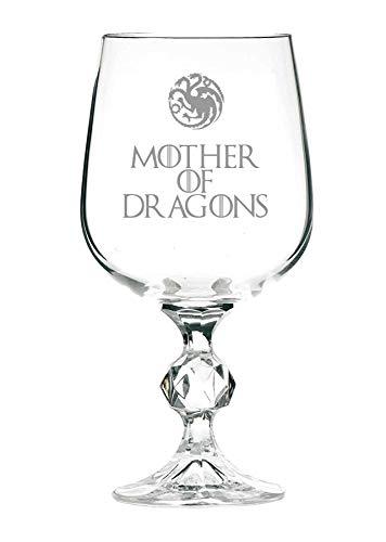 Copa de vino con diseño de Juego de Tronos con inscripción en inglés (Mother of Dragons), 325 ml