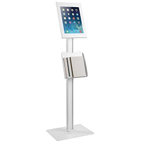 """Maclean MC-867 Tablet Halterung Bodenständer mit Prospekthalter Tabletstation mit Verriegelung Kompatibel mit 12,9\"""" iPad Pro (Gen3)"""