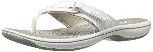 Clarks Women#039s Breeze Sea Flip Flop New White Synthetic 8 BM US