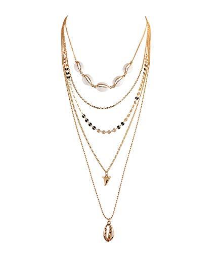 SIX Damen Halskette, Lange Kette im Layering Look mit 5 Lagen, verziert mit Muscheln, goldfarbenen Plättchen, Haifischzahn (790-037)