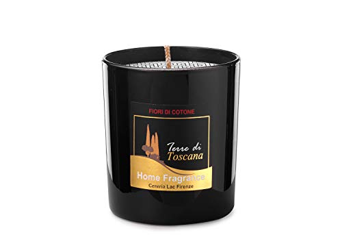 Home Deco London Signature Scented Candle Black Glass Soy Wax in Gift Box Package for Air Clean and Body Relaxation 30 hours Burn Fine Ideal for Anniversary, Birthday (Cotton Flowers)