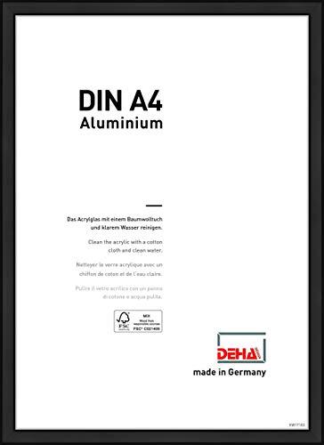 DEHA Aluminium Bilderrahmen Boston, 21x29,7 cm (A4), Eloxal Schwarz Matt