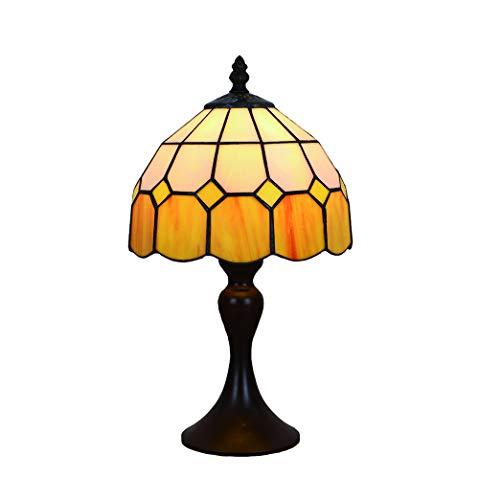 Vintage Tiffany Tischlampen Gelbe 8 Zoll, Tiffany Tischlampe Antik Original, Glasmalerei Lampen Mediterrane Schlafzimmer Nacht Lampenschirme Wohnzimmer