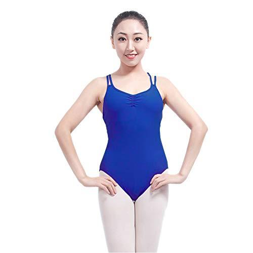 KINDOYO Femme Justaucorps de Danse - Justaucorps de Gymnastique de Danse Camisole avec Dos croisé, Bleu, L