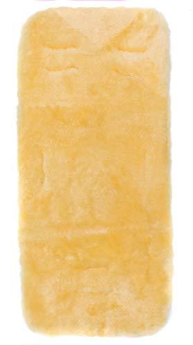 Fillikid Lammfelleinlage 73x33cm Exclusiv, Kinderwagen Lammfell, Lammfell für Baby für Kinderwagen, Buggy Autositz, echtes Merino Schaffell gold-gelb, Design:natur
