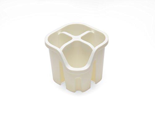 Addis Égouttoir à Couverts avec 4 Compartiments, Plastique, Lin crème, 14 x 14 x 13 cm