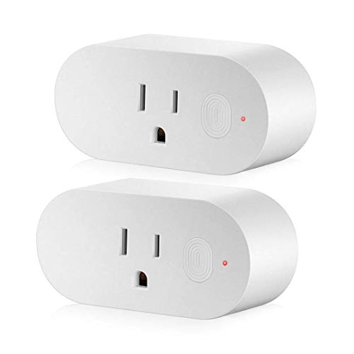 NUNET Smart WiFi Plug 2 Packs 16A Mini Smart Outlet with Energy Monitor, Work with Amazon Alexa, Google Home, No Hub Required, Support High Power Appliances, Remote Control and Timing Function From An
