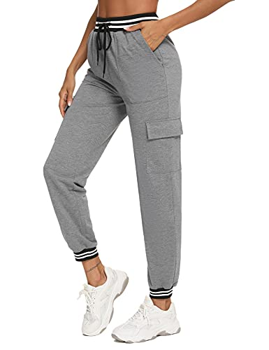 Wayleb Pantalones Mujer Pantalon Chandal Mujer Pantalon Jogger Pantalon Deporte Transpirables de Cintura Alta con Bolsillos para Correr Yoga Fitness