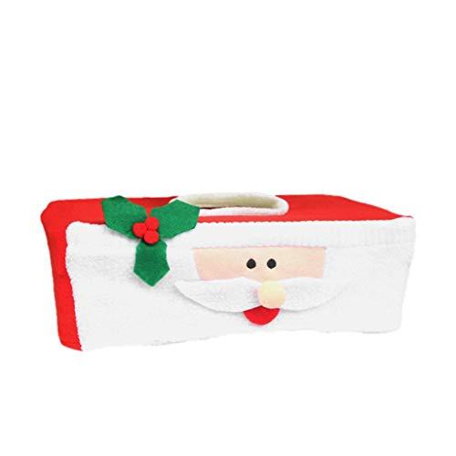 WARMWORD Caja de pañuelos de Navidad Cubierta de Tela Dispensador de pañuelos de Papel Facial Servilletero para hogar y Oficina Santa Muy Popular Decoración navideña