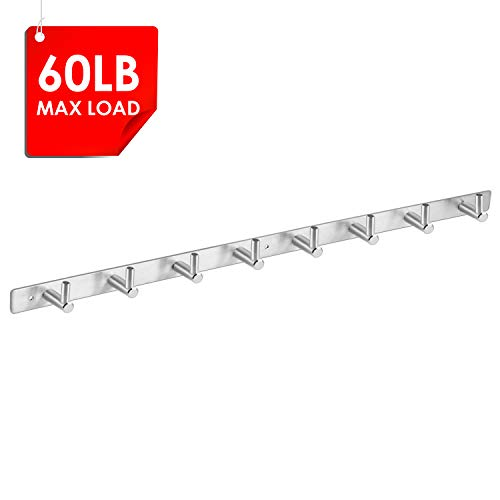 Amzdeal Wall Mounted Coat Rack - 8 Pegs 24' Modern Hook Rail for Clothes Caps Hats Belts Keys, Anti-Rust, Sturdy, Heavy Duty, 304 Stainless Steel, Silver, Can Hold 30kg