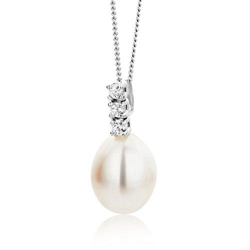 Miore Necklace - Pendant Women Freshwater Pearl Chain Brilliant Cut Zirconia White Gold 9 Kt / 375 Chain 45 cm