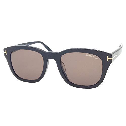Tom Ford Gafas de sol FT 0676 -F Eugenio 01E Lentes brillantes, color negro y marrón