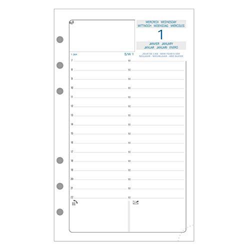 Exacompta - 18245E - Recharge perforée - millésimée journalier 6 mois -Janvier à juin 2022 pour Exatime 17- 2eme semestre référence - 10,5 cm x 17,2 cm - Papier blanc