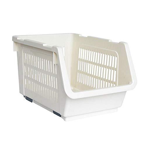 Urben Life–Caja de Almacenamiento, Cocina Frutas Verduras de plástico Cesta de almacenaje bandejas de almacenaje apilables, Blanco, L