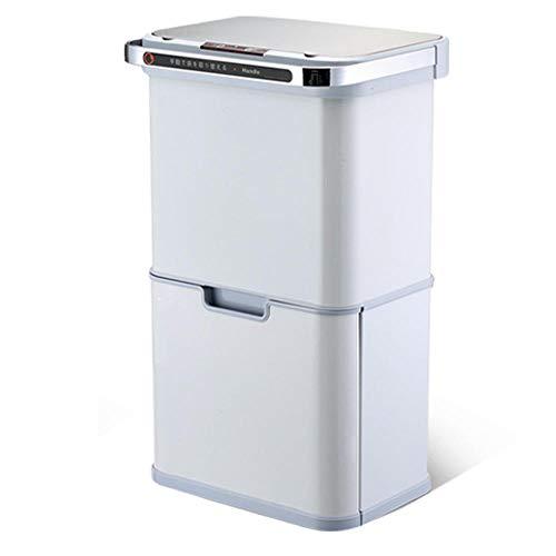 ZYZZ 40L Cubo de Basur de Acero Inoxidable 4 Reciclaje Compartimentos de 10L Reciclaje Cubo Tapa con Bisagras