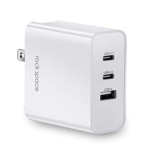 USB C Charger, Fast Charging Adapter, 3-Port GaN Tech Supported 65W PD 3.0 Type-C Wall Charger, Compatible with MacBook Pro,iPad Pro,iPhone 11/11 Pro Max,Galaxy,Pixel,Huiwei and More (Cable Included)