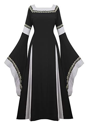 Famajia Renaissance Kostüm Damen Mittelalter Faire Kostüme Irisch über viktorianisches Retrokleid Langes Kleid - Schwarz - XX-Large