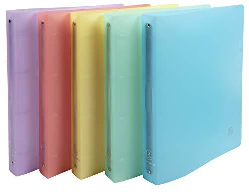 Exacompta - Cod. 51970E - Conf. da 5 Raccoglitori 4 anelli 30mm Chromaline Pastel - Polipropilene traslucido - F.to esterno 26,8x32cm - Col. ass : blu pastello, corallo, giallo, malva, verde pastello