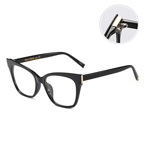 Vrouwen Groot Frame Cat Eye Leesbril Comfortabele Manier Presbyopie Verziendheid Lenzen Met Vergrootglas Graad 100-300,Black,+ 3.00