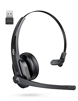 TaoTronics Bluetooth Headset with Microphone Wireless Headset with USB Adapter for PC Noise Cancel Mic On Ear Headphone Bluetooth 5.0 34H for Trucker Home Office Online Class Call Center Skype Zoom