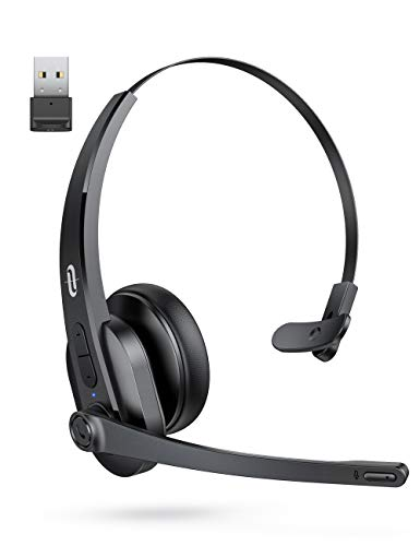 TaoTronics Bluetooth Headset with Microphone, Wireless Headset with USB Adapter for PC, Noise Cancel...