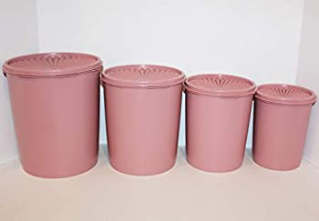 Tupperware  4  Vintage Pink Mauve Servailier Rare Stacking Canister Set