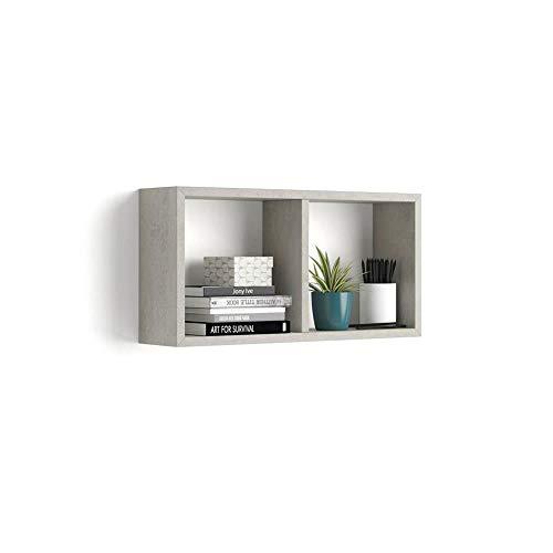 Mobili Fiver, Cubo da Parete First, Cemento, 59 x 14,5 x 30 cm, Nobilitato, Made in Italy