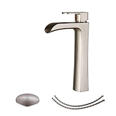 BWE Vessel Sink Faucet Waterfall Single-Handle One Hole Brushed Nickel Lavatory Mixer Tap Deck Mounted with Drain Assembly and Faucet Supply Lines