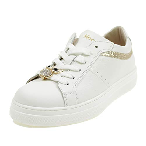 Andrea Morelli M4A450327 - Zapatos Bajos, Cordones y Cremallera, diseño de búho, Color Blanco Blanco Size: 39 EU