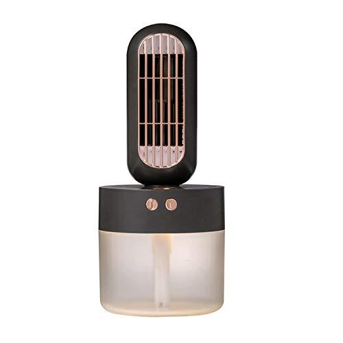 PANGTOU Ventilador de Mano Mini Fan Ventilador con atomizador V8 Cabezal sacudidor con Carga USB Ventilador de Mesa de Escritorio Ventilador de Recarga