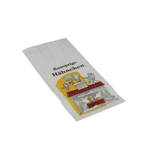 tradingbay24 Hähnchenbeutel, Papier mit HDPE-Einlage 24 cm x 10,5 cm x 5,5 cm Max & Moritz 1/2 tbU90146 Hähnchentüten Warmhaltebeutel Halbes Hähnchen, 1000 Stück