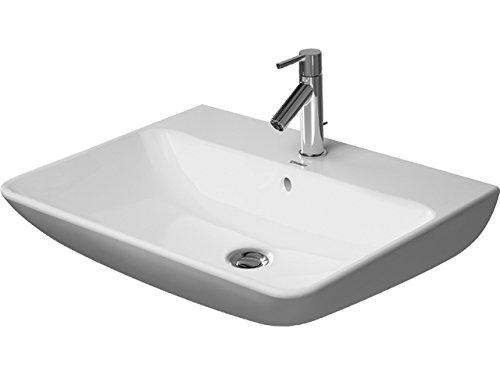 Lavabo Duravit ME de Starck Wash con rebosadero, con Banco para grifos, 1 Agujero para grifos, 650 mm, Color: Seda Blanca Mate con Wondergliss - 23356532001