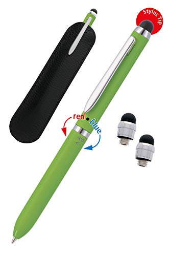 ONLINE Multipen 3-i-1 | Pekskärmspenna och kulspets med två färger (blå, röd) | kulspets med pekpenna | påfyllningsbar | multifärgpenna | med läderpåse | svart