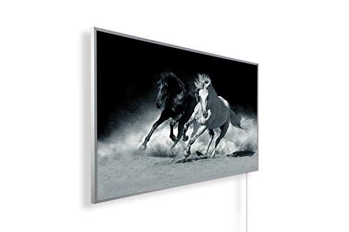 Könighaus Fern Infrarotheizung – Bildheizung in HD Qualität mit TÜV/GS - 200+ Bilder -800Watt - Patentiert -Weißer_Rahmen(099. Andalusische Pferde) Black Edition