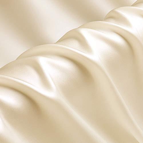 19匁 シルク生地 100% 正絹サテン布(114cm幅)シャンパン, 1mカット